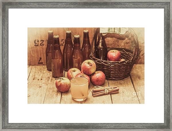 Apples Cider By Wicker Basket On Wooden Table Framed Print
