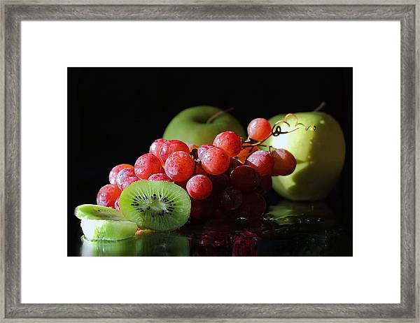 Apples, Grapes And Kiwi  Framed Print