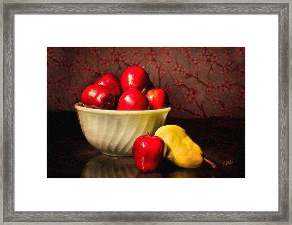 Apples In Bowl With Pear Framed Print