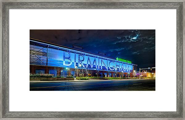 April 2015 -  Birmingham Alabama Baseball Regions Field At Night Framed Print