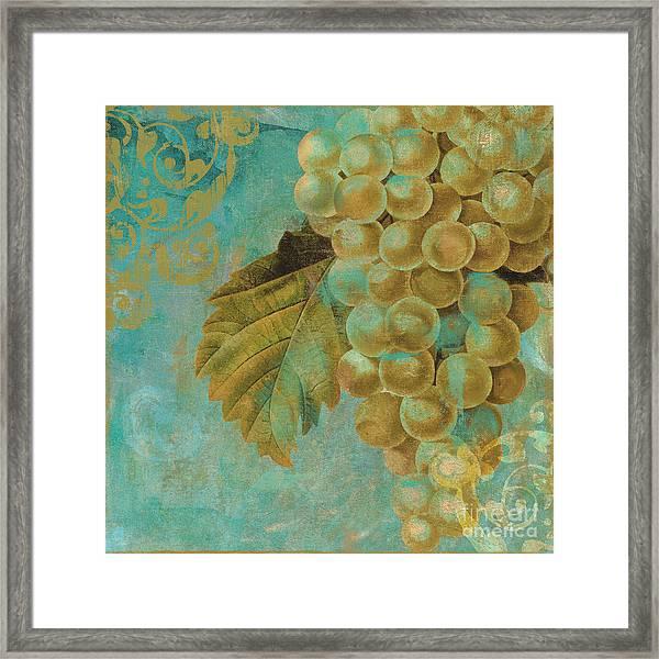 Aqua And Gold Grapes Framed Print
