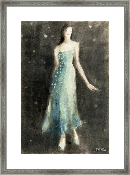 Aqua Blue Evening Dress Framed Print by Beverly Brown