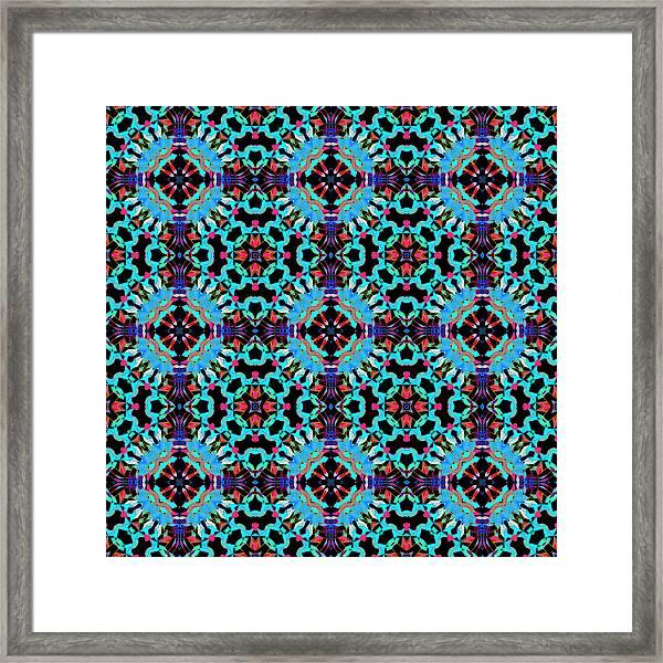 Aqua Geometric Mandala Framed Print