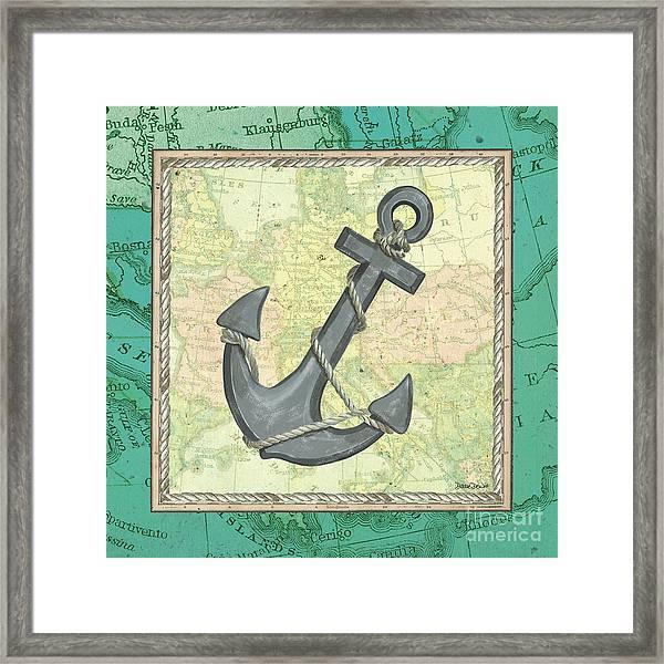 Aqua Maritime Anchor Framed Print