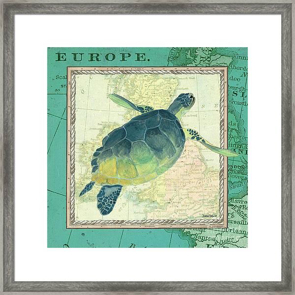 Aqua Maritime Sea Turtle Framed Print