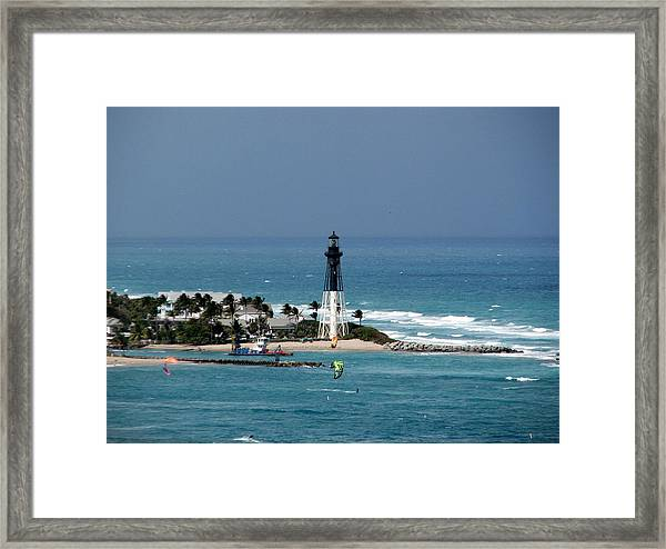 Aqua Water At Hillsboro Lighthouse In Florida Framed Print