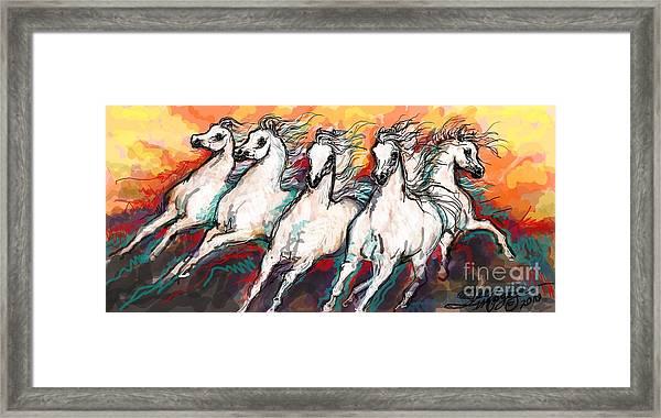 Arabian Sunset Horses Framed Print