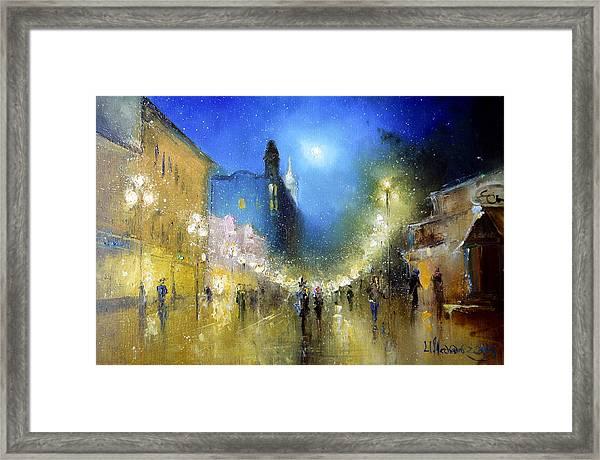 Arbat Night Lights Framed Print