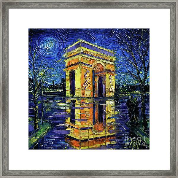 Arc De Triomphe Paris Mirroring Modern Impressionist Impasto Cityscape Oil Painting Framed Print