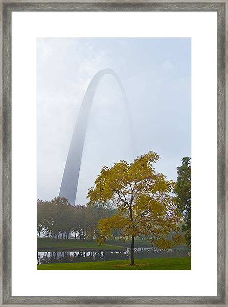 Arch In The Fog Framed Print