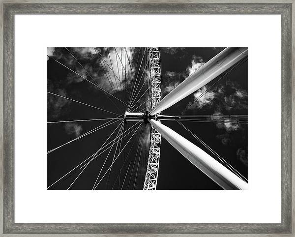 Architectural Details Of The Metallic Structure Of A Ferris Whee Framed Print
