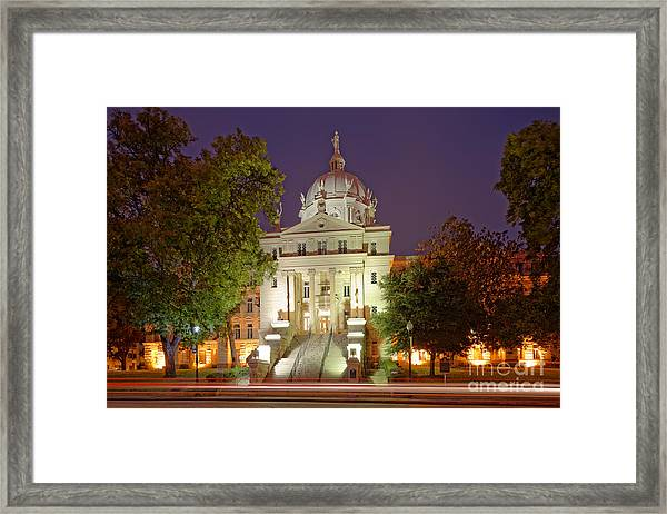 Architectural Photograph Of Mclennan County Courthouse At Dawn - Downtown Waco Central Texas Framed Print