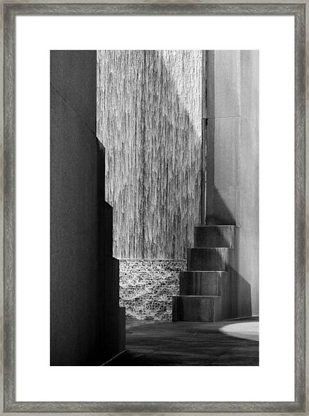 Architectural Waterfall In Black And White Framed Print