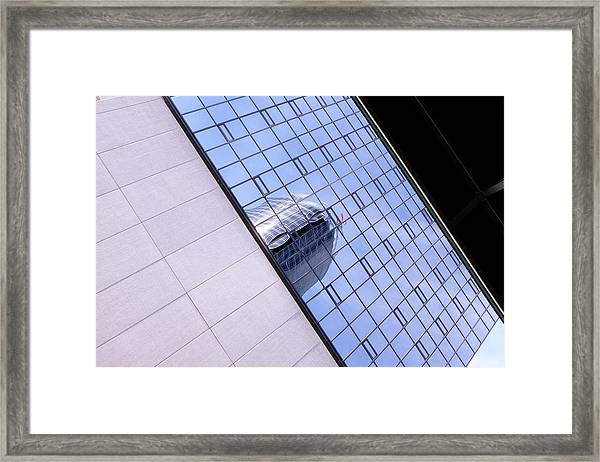 Architecture Photo On Its Side With Windows And Cement In Grand Rapids Michigan Framed Print