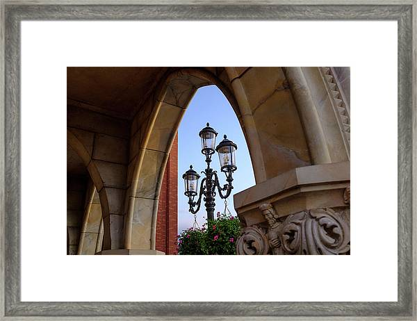 Archway And Lights In Orlando Florida Framed Print