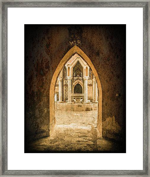 Framed Print featuring the photograph Rhodes, Greece - Archway by Mark Forte