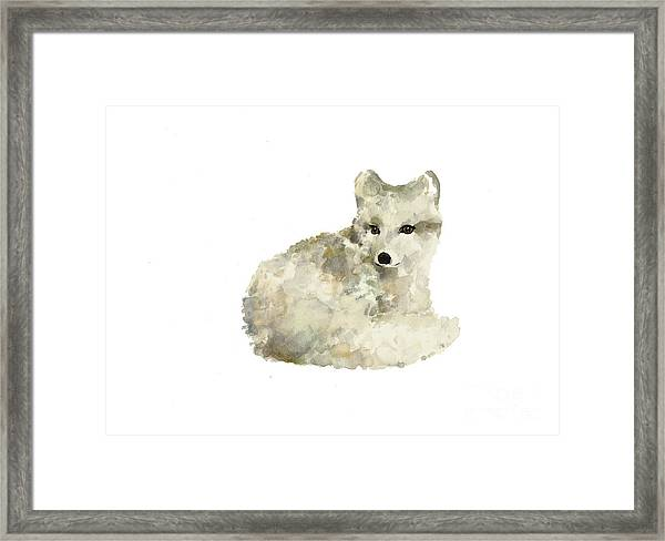 Arctic Fox Watercolor Art Print Painting Framed Print