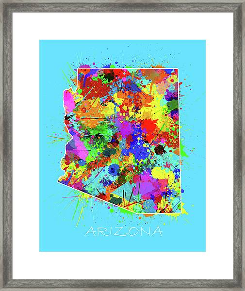 Arizona Map Color Splatter 2 Framed Print