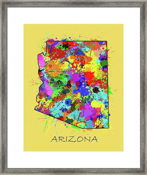 Arizona Map Color Splatter 3 Framed Print