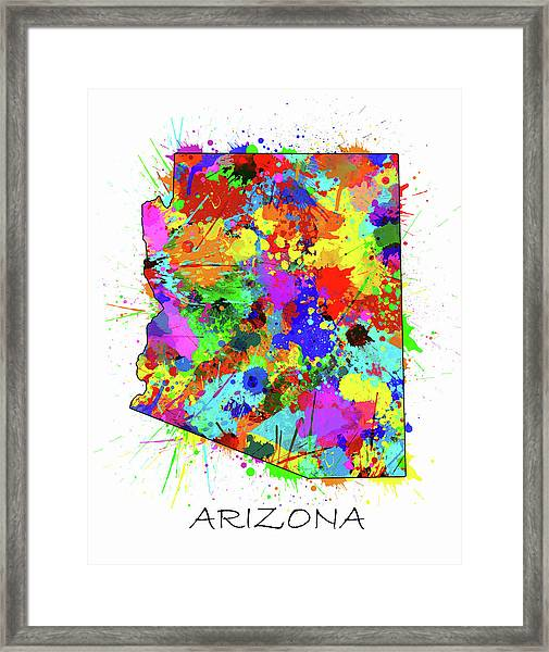 Arizona Map Color Splatter Framed Print