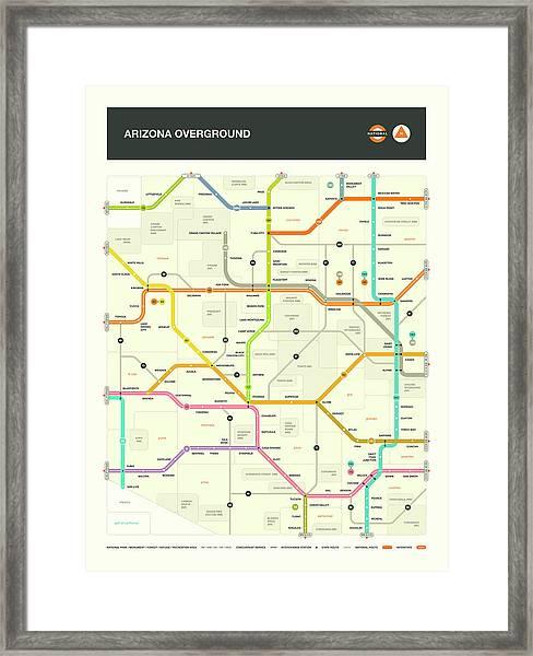 Arizona Map Framed Print by Jazzberry Blue