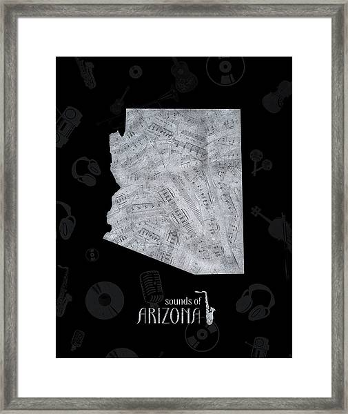Arizona Map Music Notes 2 Framed Print