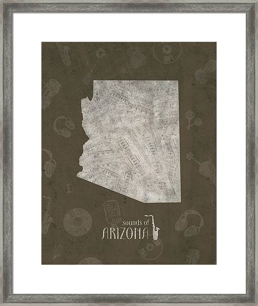 Arizona Map Music Notes 3 Framed Print