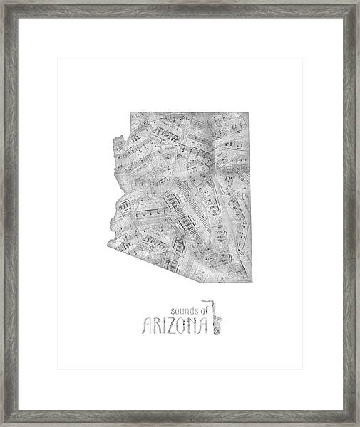 Arizona Map Music Notes Framed Print
