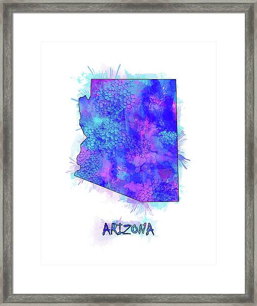 Arizona Map Watercolor 2 Framed Print