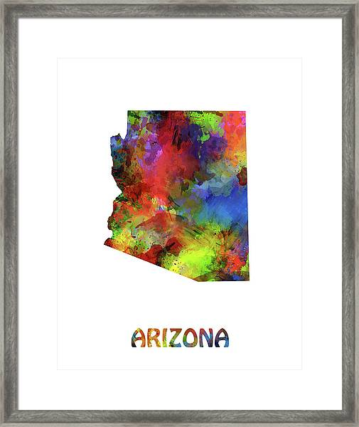 Arizona Map Watercolor Framed Print