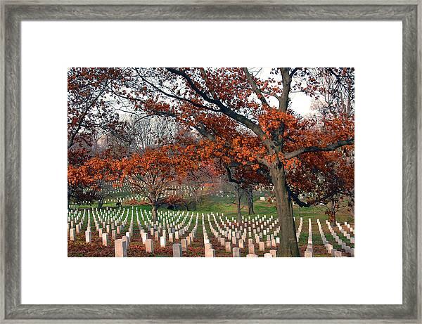 Arlington Cemetery In Fall Framed Print