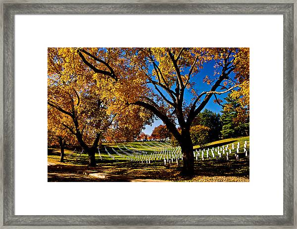 Arlington Cemetery In The Fall Framed Print