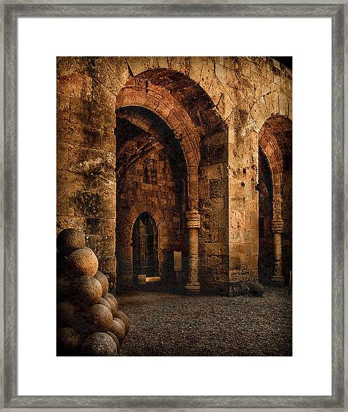 Framed Print featuring the photograph Rhodes, Greece - Armed Gate by Mark Forte