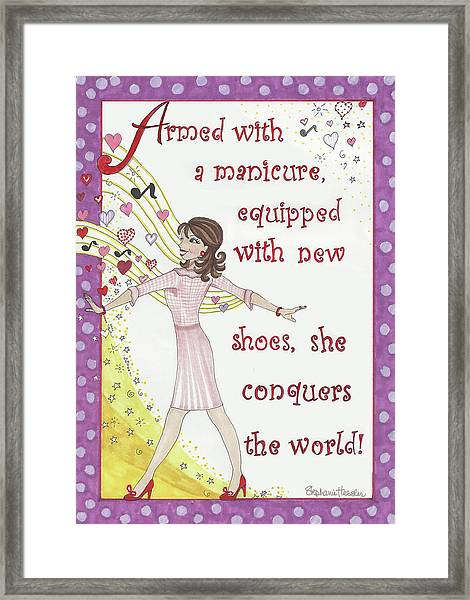 Armed With A Manicure Framed Print