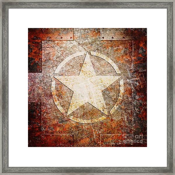 Army Star On Rust Framed Print