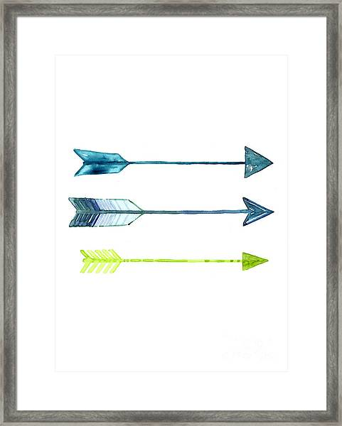 Arrows Watercolor Art Print Framed Print
