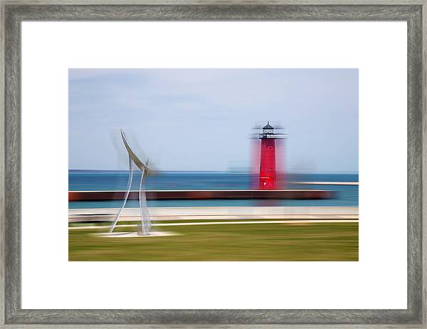 Art By The Lake Shore Framed Print