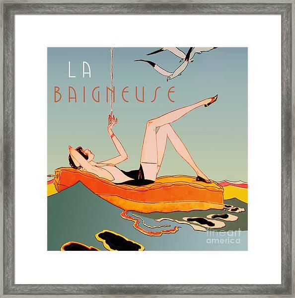Art Deco Beach Bather Framed Print
