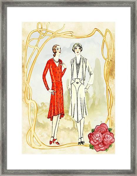 Art Deco Fashion Girls Framed Print