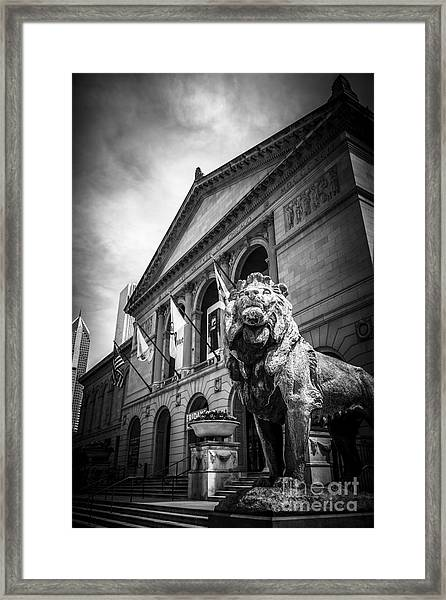 Art Institute Of Chicago Lion Statue In Black And White Framed Print by Paul Velgos