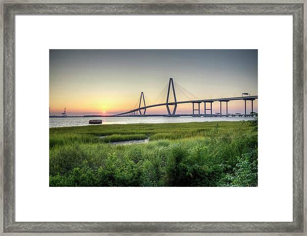 Arthur Ravenel Bridge Sunset Framed Print