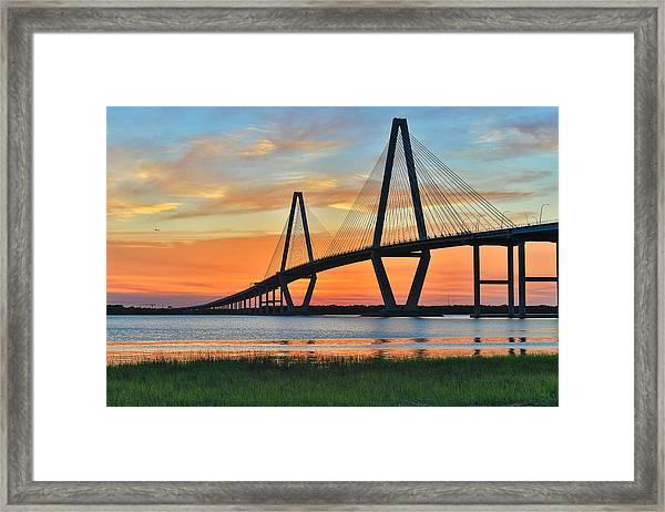 Arthur Ravenel Jr. Bridge At Dusk - Charleston Sc Framed Print