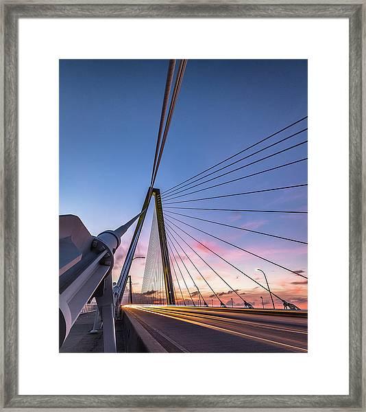 Arthur Ravenel Jr. Bridge Light Trails Framed Print