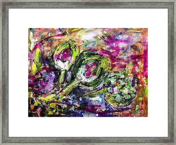 Artichoke Abstract Watercolor And Ink Framed Print