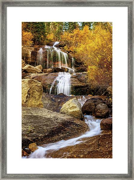 Aspen-lined Waterfalls Framed Print