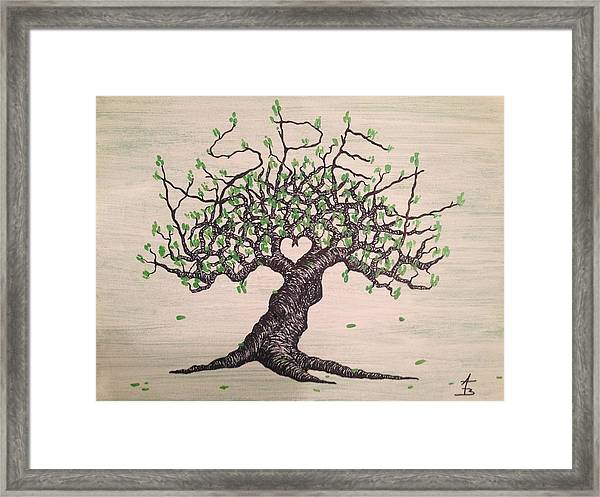 Framed Print featuring the drawing Aspen Love Tree by Aaron Bombalicki