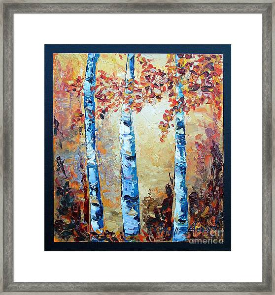 Aspens In Glow Framed Print