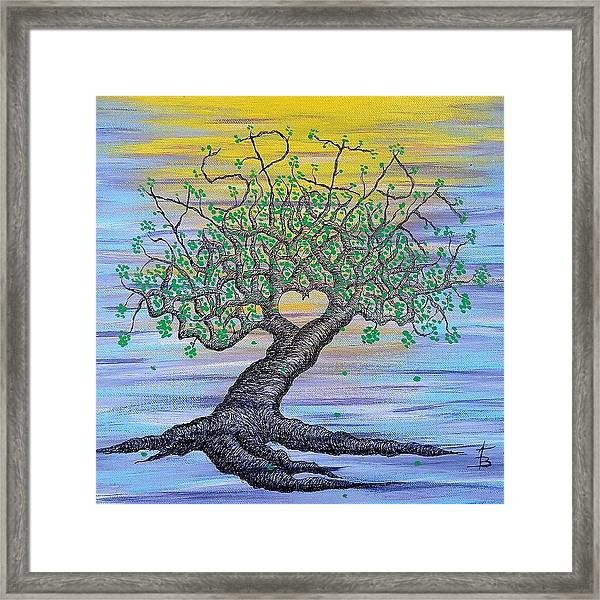 Framed Print featuring the drawing Aspire Love Tree by Aaron Bombalicki