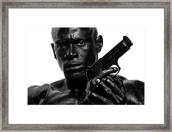 Assassin In Black And White Framed Print