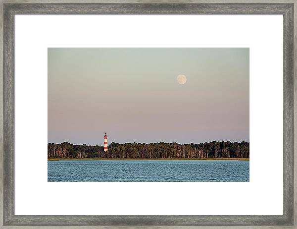 Assateague Light And The Full Moon Framed Print